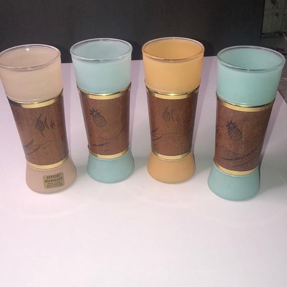 Vintage Siesta Ware Glasses With Mahogany Sleeve